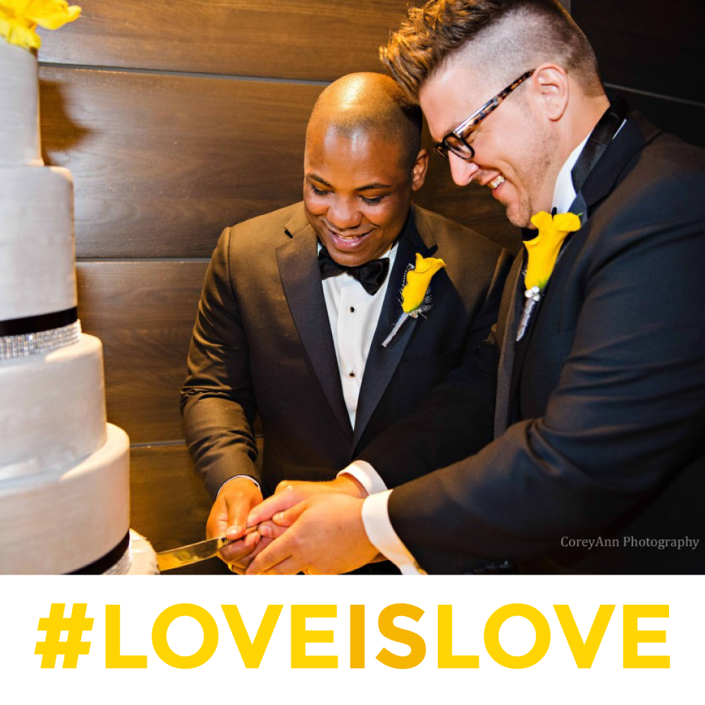 Duane & Josh cutting their cake at High Line Car House - the premier venue of Together & Company