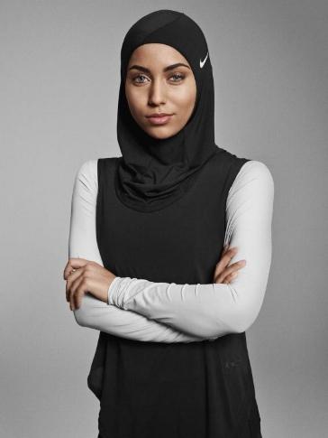 Weightlifter Amna al Haddad sporting her Nike Sports Hijab