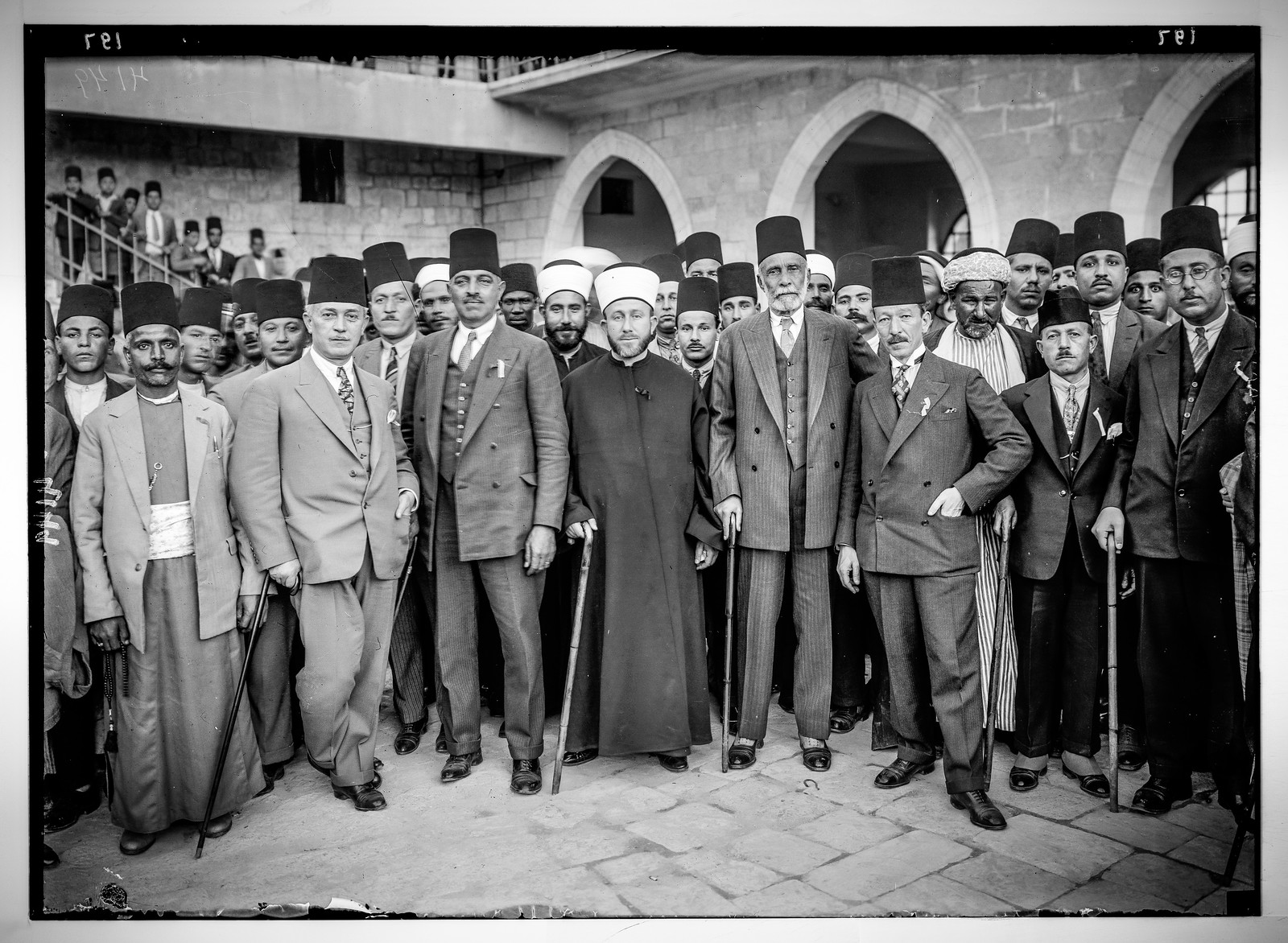 An Arab delegation to London 1929                   At the center of this photo is  Mohammed Amin al-Husseini , who was appointed  Grand Mufti of Jerusalem  in 1921  by the British