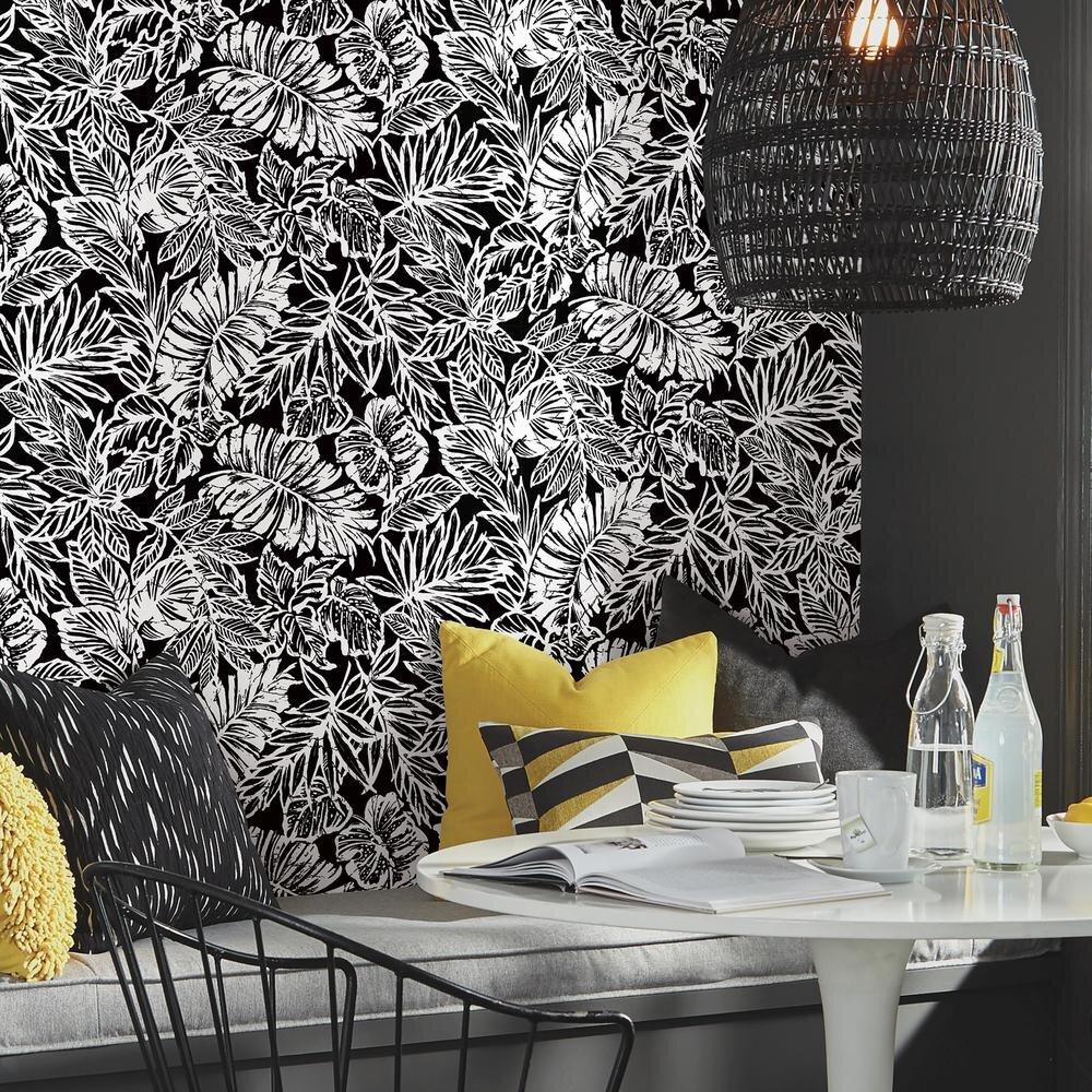 Rmk11439wp Batik Tropical Leaf Peel Stick Wallpaper Jojo Design Studio