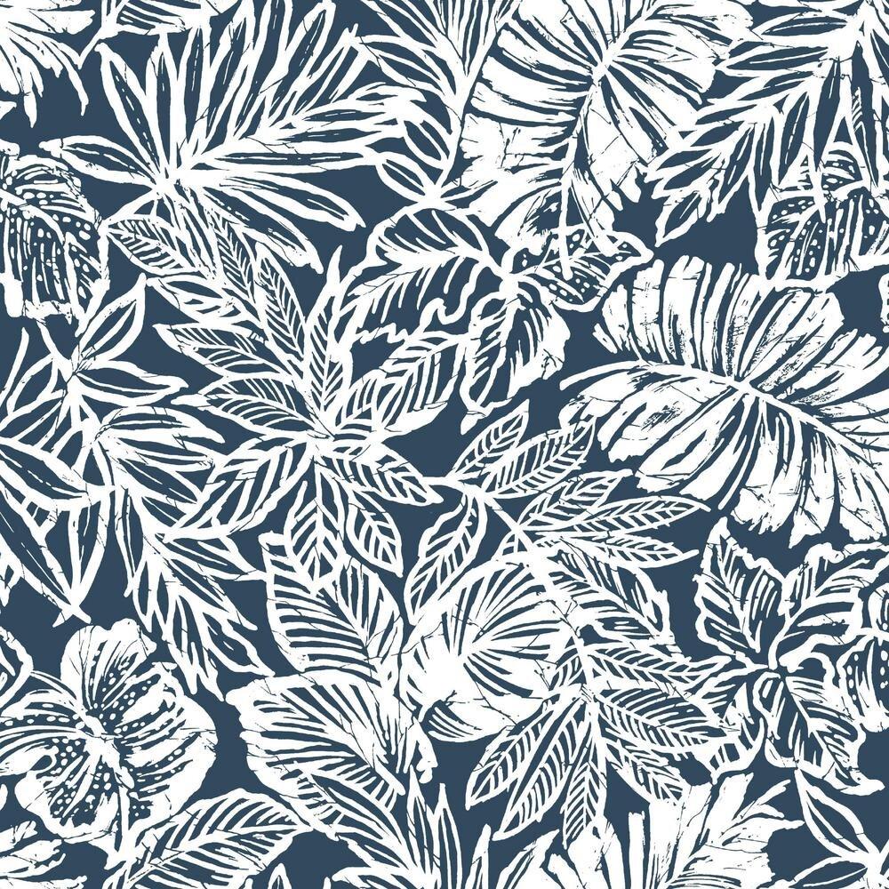 Rmk11437wp Batik Tropical Leaf Peel Stick Wallpaper Jojo