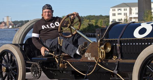 Howard Kroplick in his 1909 Alco-6 Racer 'Black Beast'