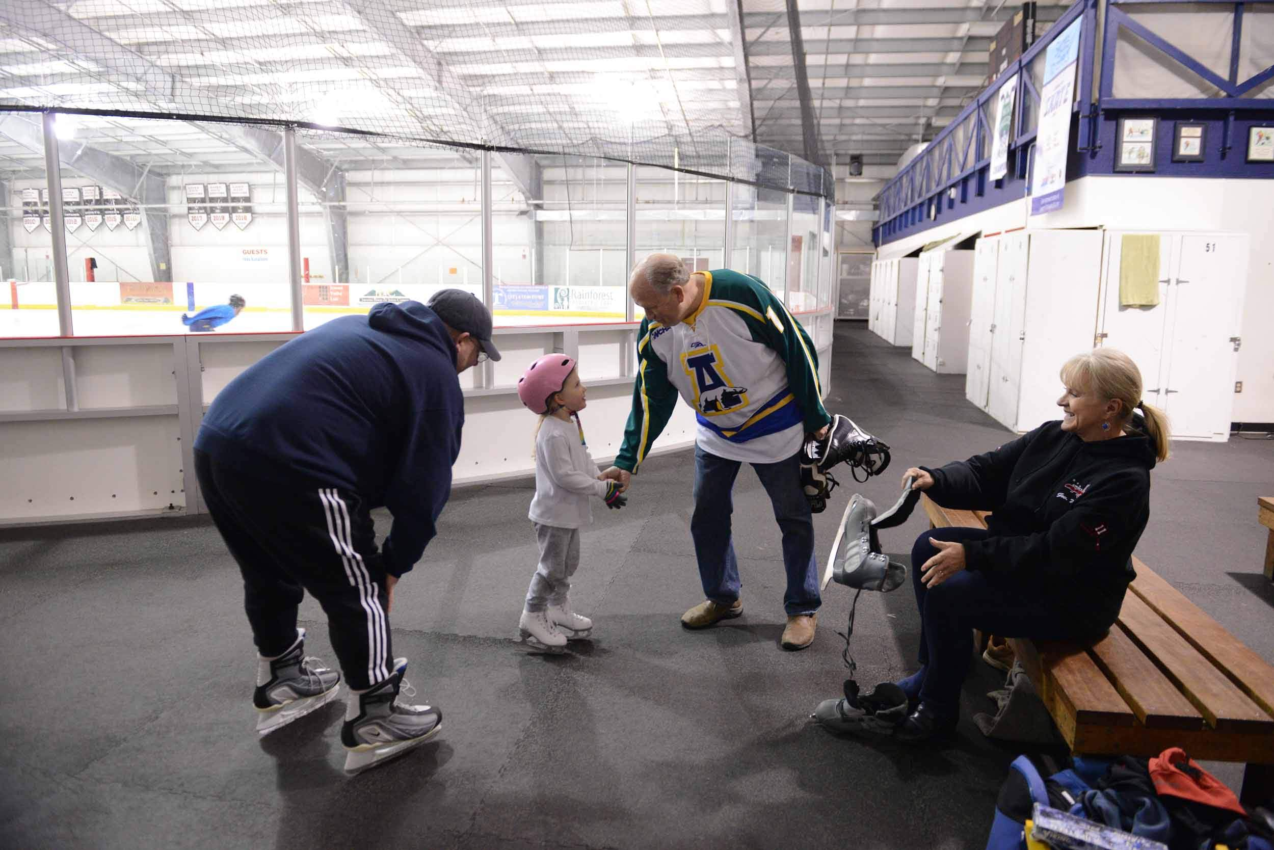 Governor Walker and First Lady Donna Walker greet a fellow skater at the Treadwell Ice Arena in Juneau, during the waning days of the administration. October 2018.