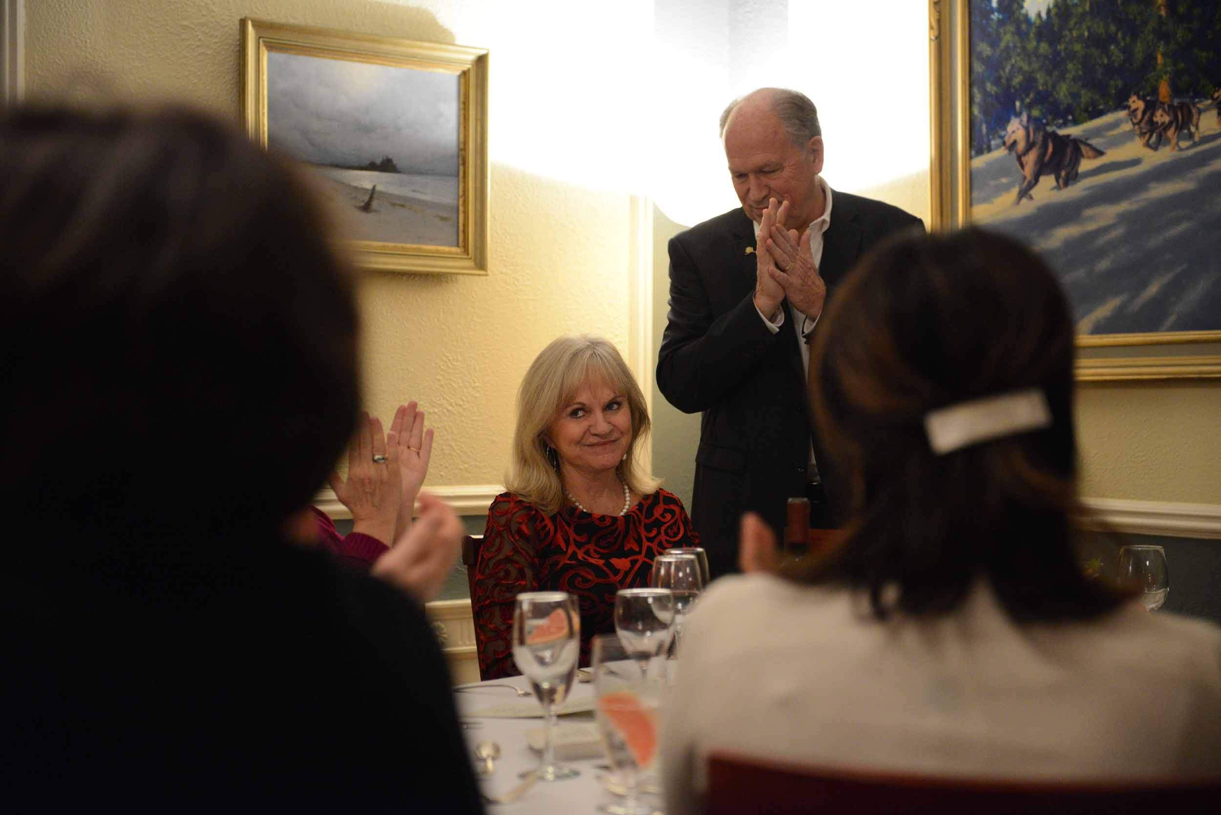 At a speech during a private dinner at the Governor's Mansion at the end of Governor Walker's term, senior staff and administration officials applaud First Lady Donna Walker. November 12, 2018.