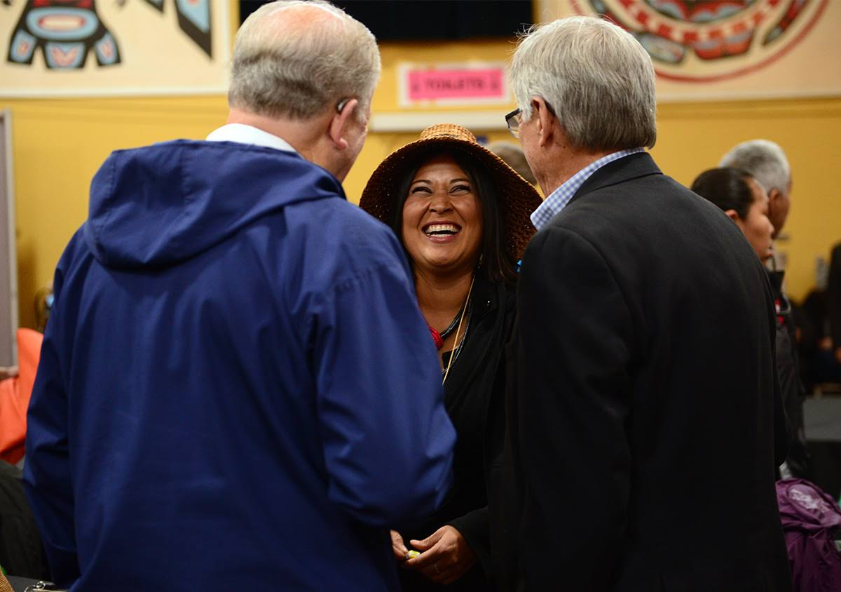 Director of Native and Rural Affairs 'Wáahlaal Gidáak Barbara Blake laughs out loud between  Governor Walker and Lt. Governor Mallott at the signing of Administrative Order 300, which solidified state support for Alaska Native languages. September 2018.