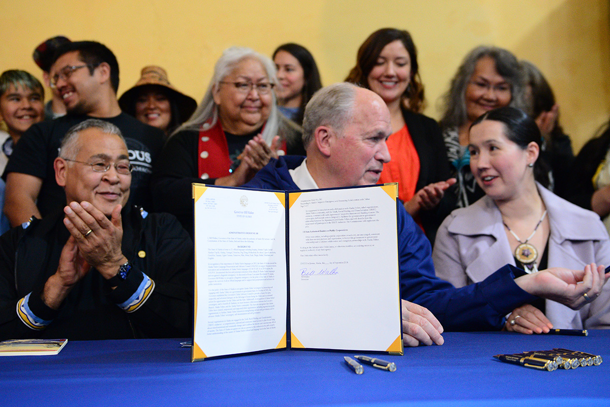 "Administrative Order 300 , signed September 23, 2018, declared a ""linguistic emergency"" in the state of Alaska, officially throwing the weight of state government behind efforts to preserve and revitalize Alaska's 21 official native languages. September 2018."