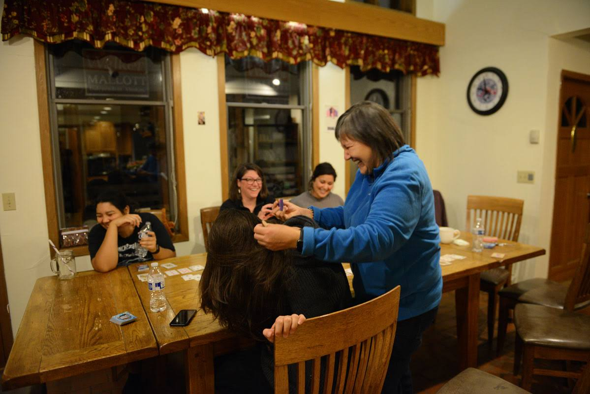 A friend stopped by new Lt. Governor Valerie Nurr'araluk Davidson's house in Bethel for a hug and a lice check. After a career in tribal health and serving as the Department of Health and Social Service, the anonymous friend said the Lt. Governor's lice checking skills were unmatched. November 14, 2018.