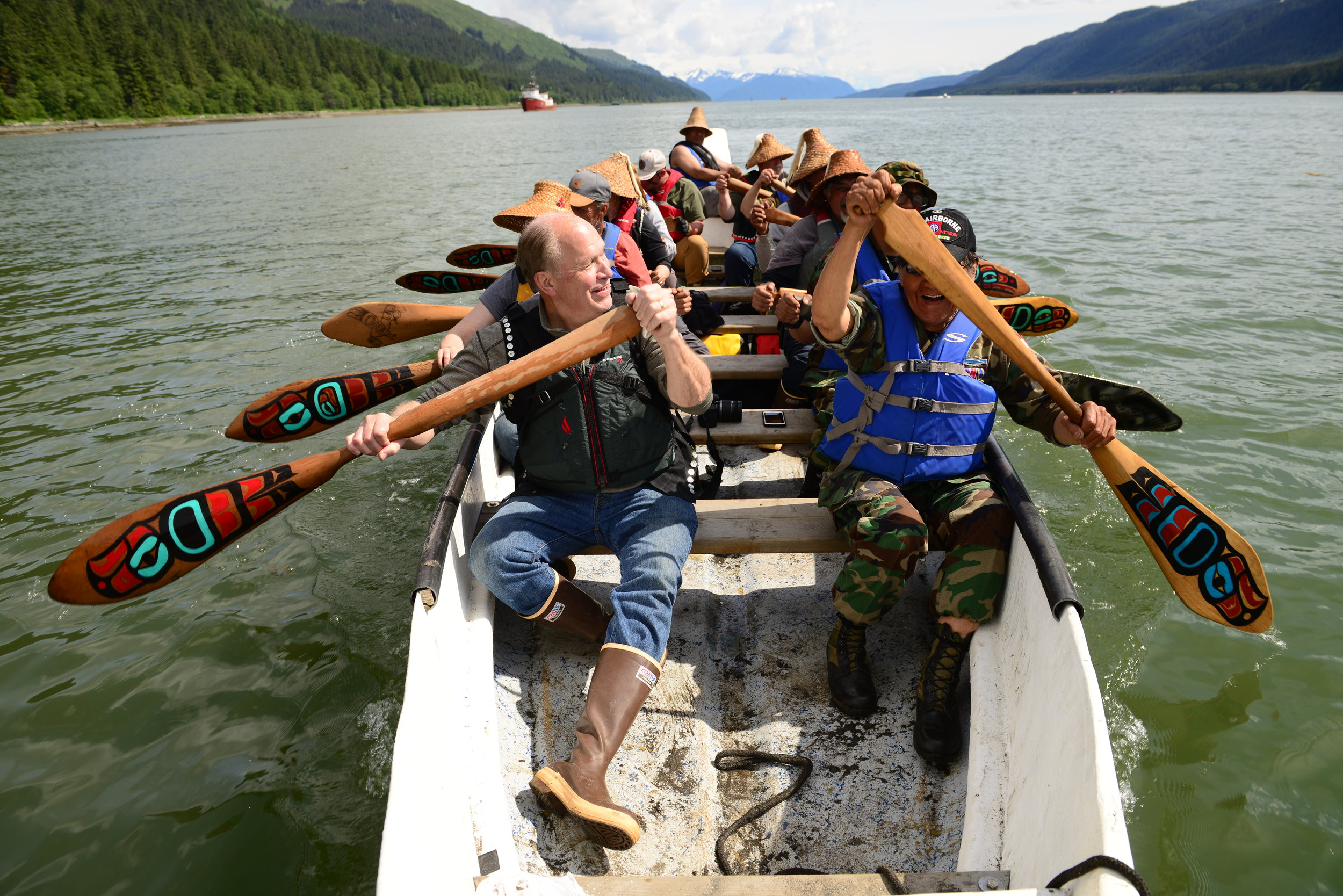 Governor Walker joins the Veterans Canoe for the last leg of the paddle to Juneau that kicks off Celebration, Southeast Alaska's biennial celebration of Tlingit, Haida, and Tsimshian culture. June 6, 2018.