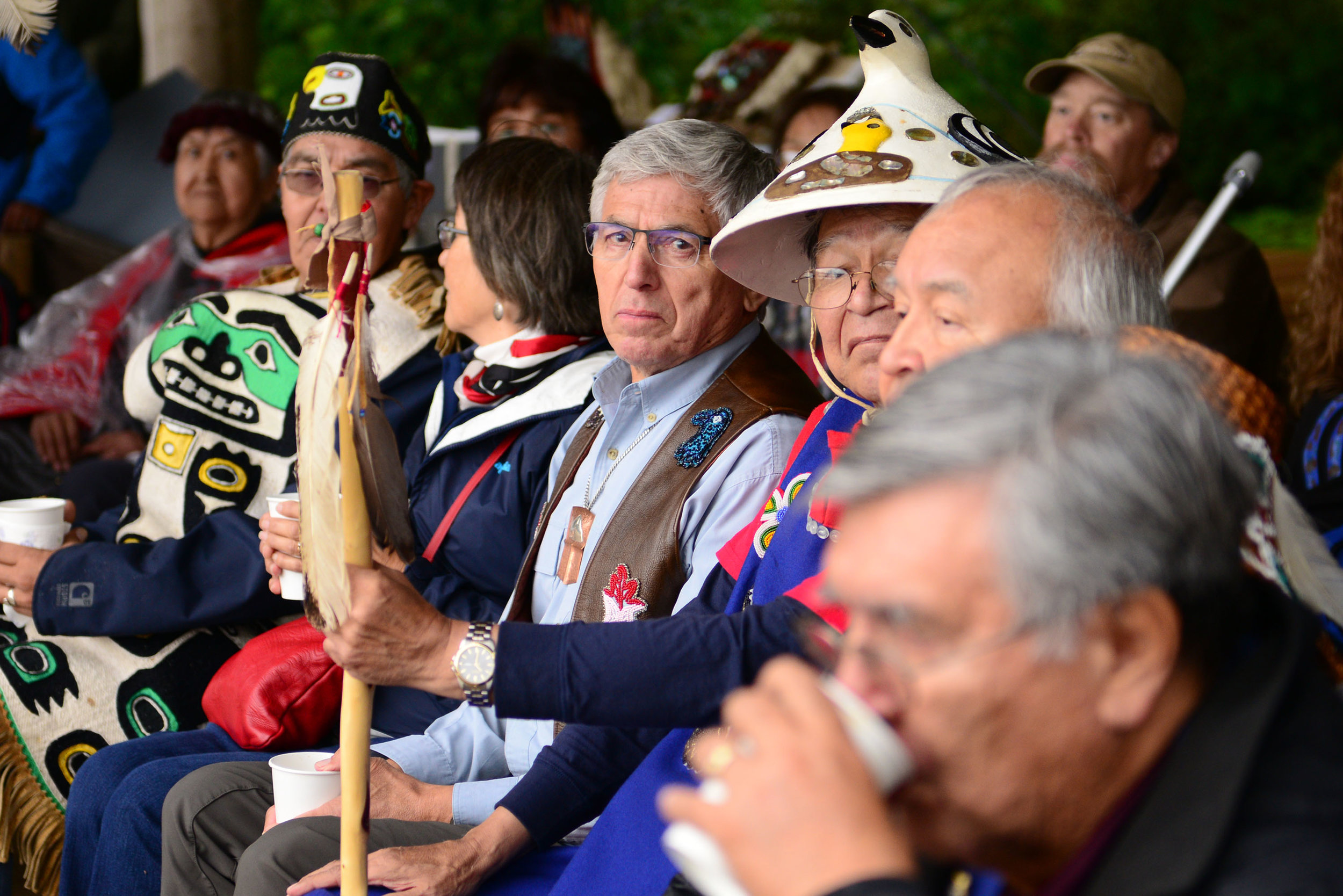Lt. Governor Byron Mallott looks into the camera at a totem raising ceremony in Glacier Bay National Park. August 25, 2018.