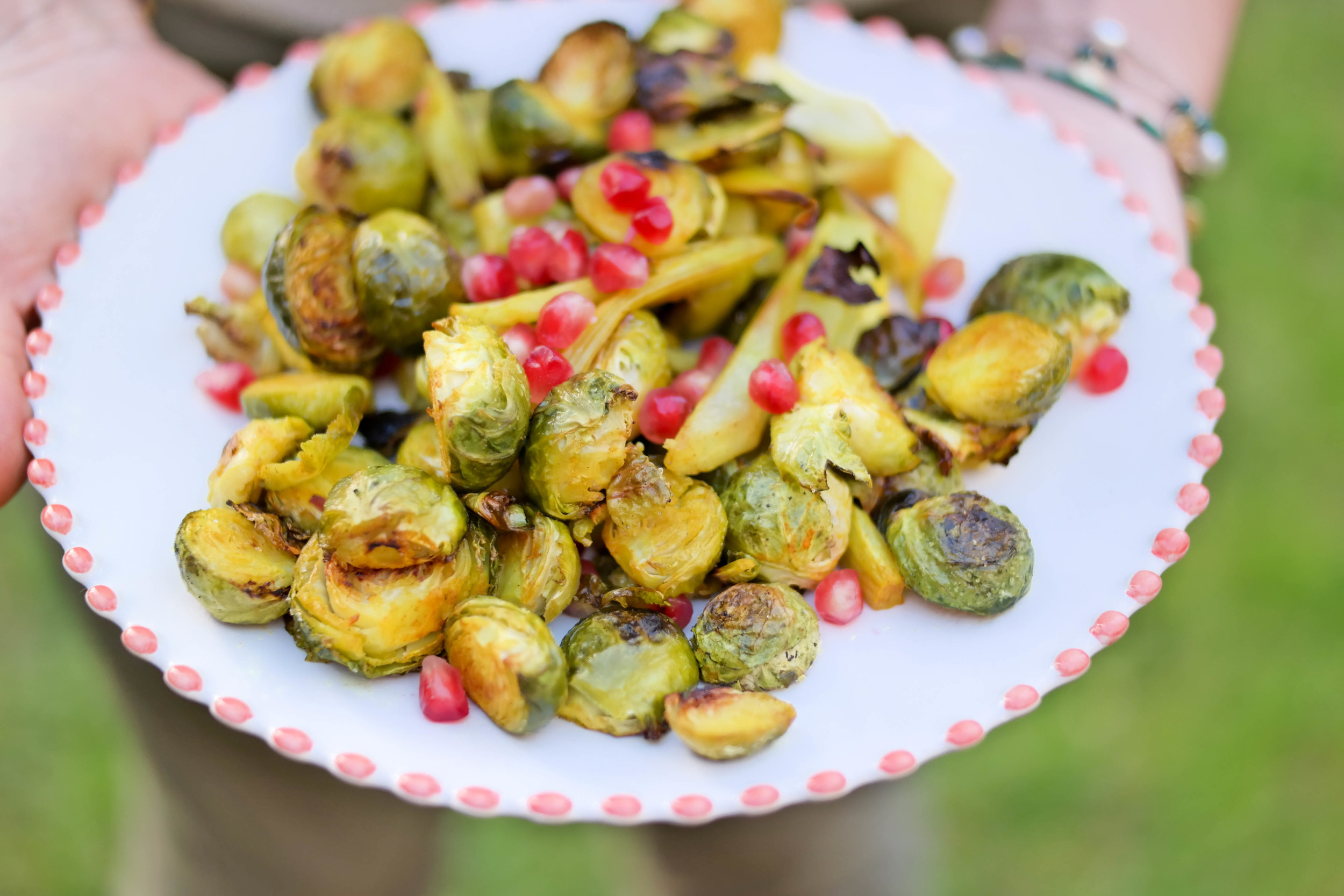 5-Thanksgiving-Ideas-Roasted-Brussel-Sprouts-with-fennel-and-pomegranate-seeds | www.8thandlake.com
