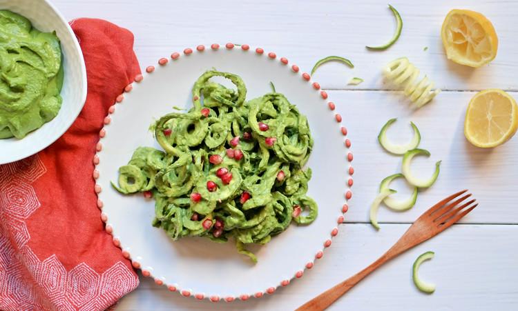 Zucchini-Noodle-Pasta-with-Creamy-Pesto | www.8thandlake.com