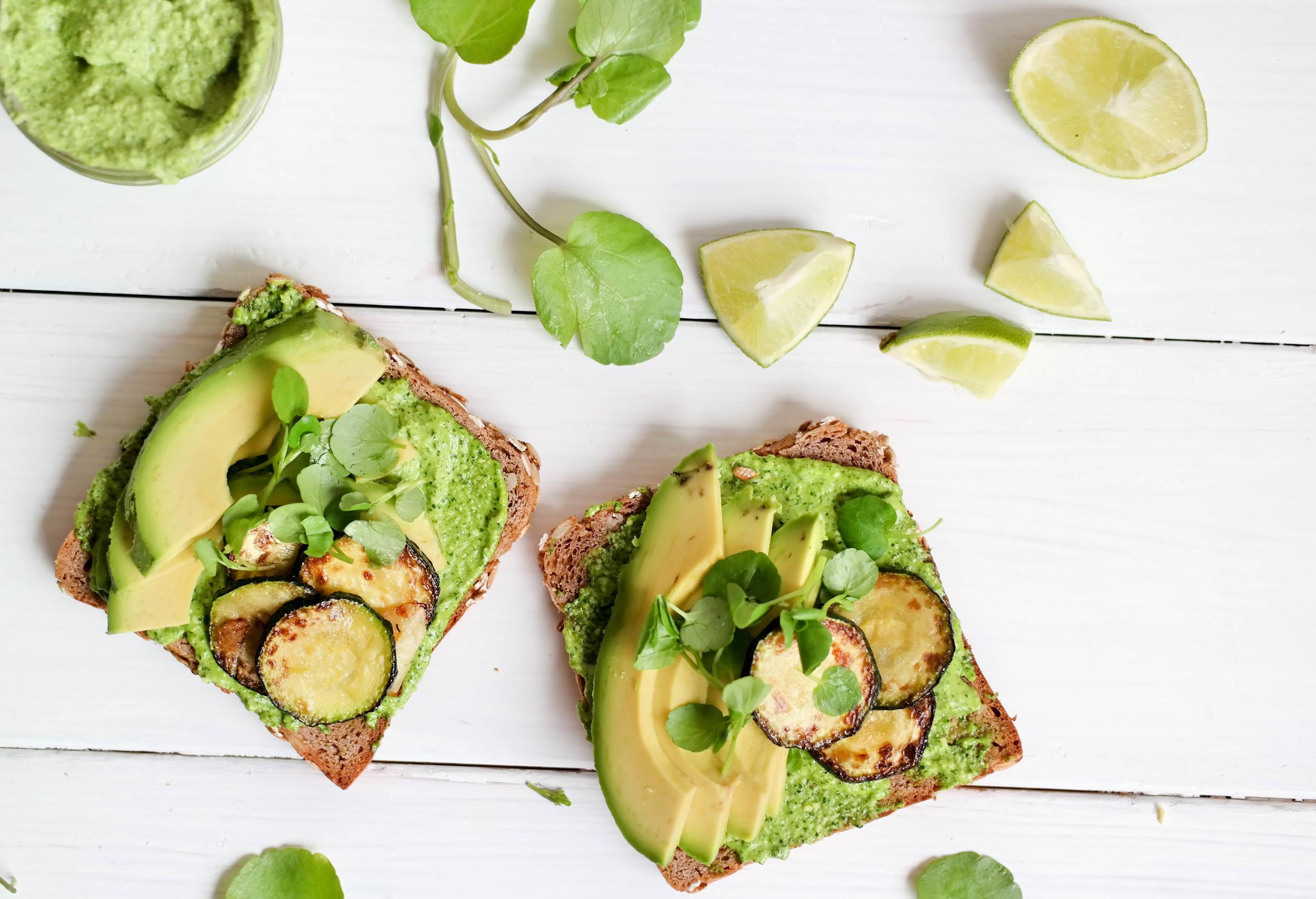 Arugula-Pesto-and-Zucchini Toast | www.8thandlake.com