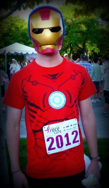 Joe races as Iron Man