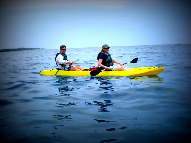 We set out for Captain Cook's bay by kayak