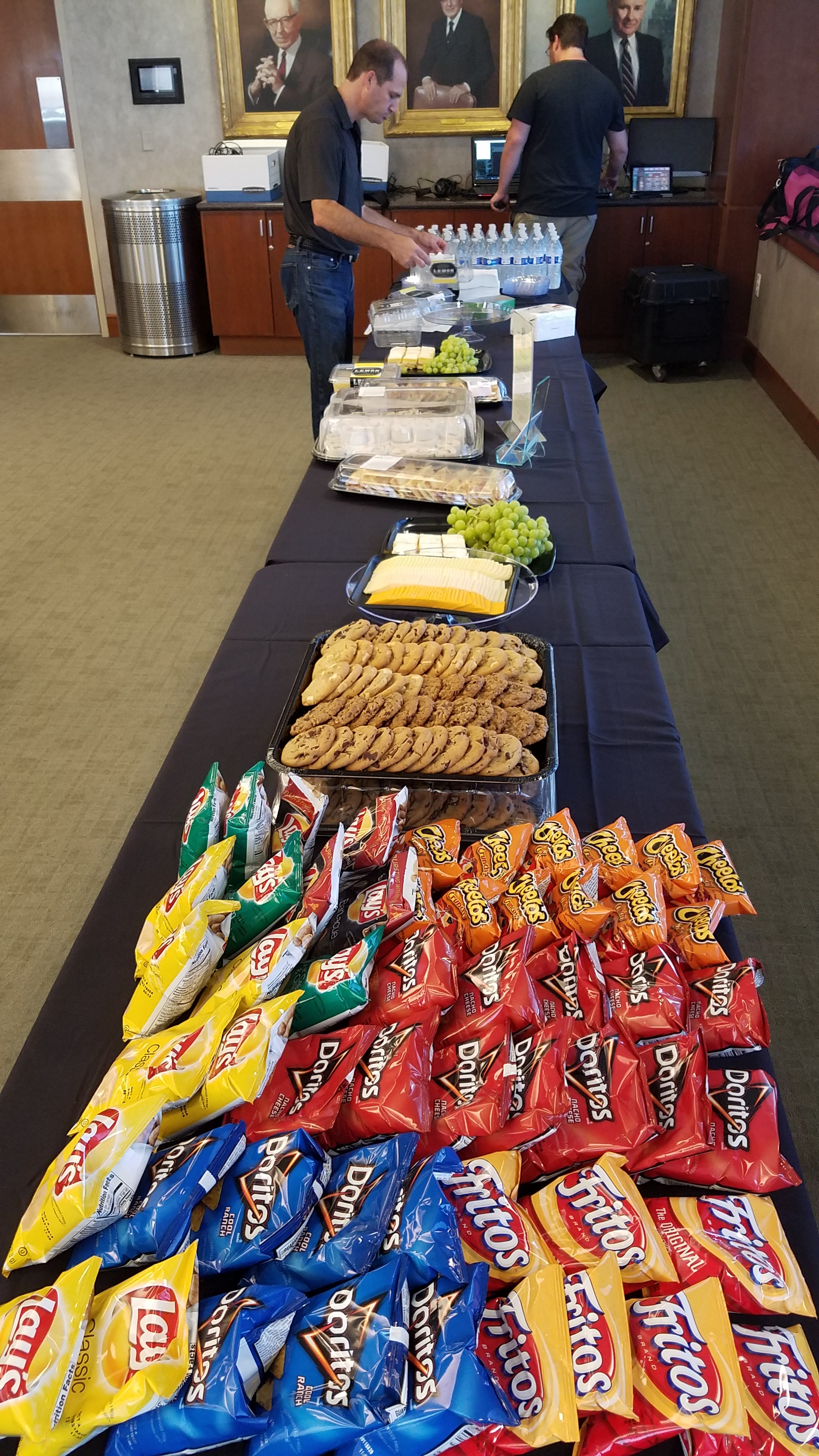 Jeff Peters sets out the snacks
