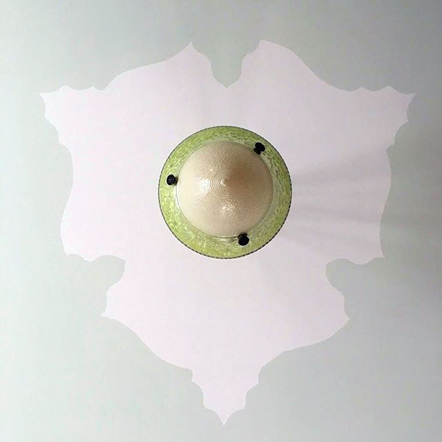 A sneak peak into a room in progress and a glimpse into our creative process: This is a custom Karen Beckwith Creative Moorish inspired ceiling medallion we installed today and our original design template. Professional photographs to follow. #karenbeckwithcreative #interiordesign #interiordesigner