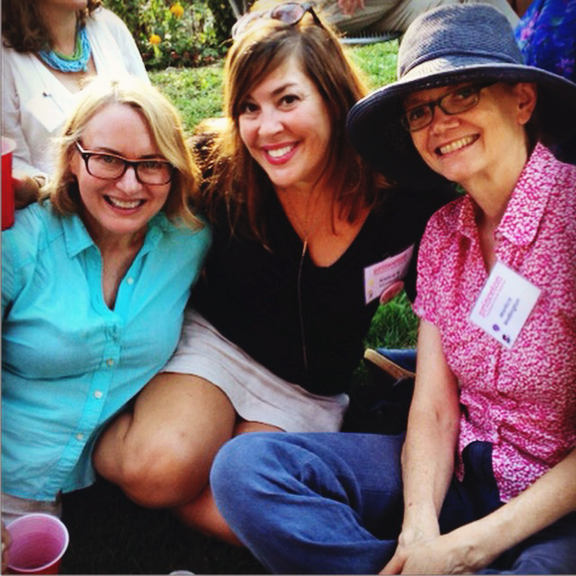 Sitting with Kristine and Monica at the delightful garden after-party