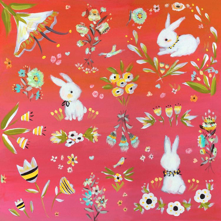 Bunnies_garden_red_Allyn_Howard