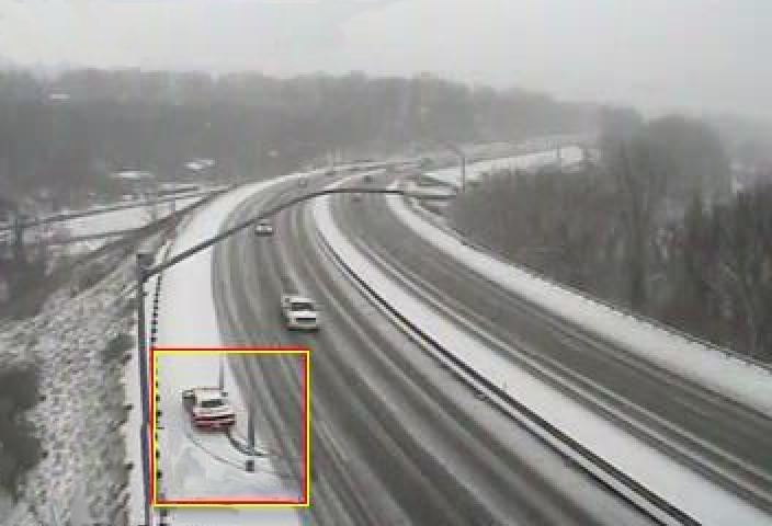 TrafficVision™ detected a vehicle that spun out due to icy conditions. Winter weather can make driving dangerous, and TMCs can receive real-time notifications for incidents on the highway in all weather conditions.