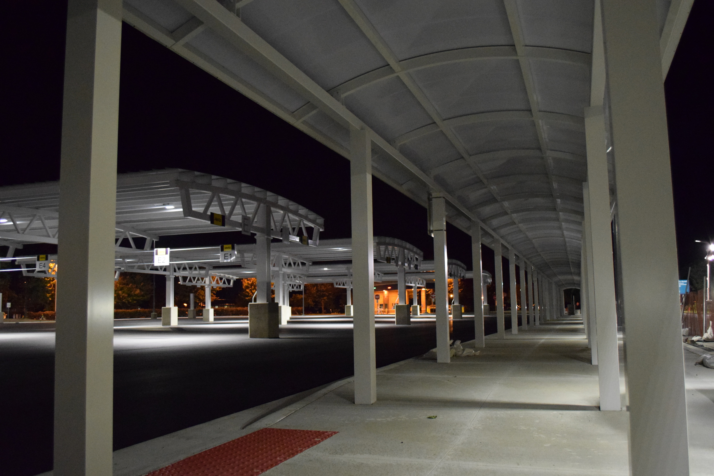 Progress photo at the Fort Wayne Airport during the Car Rental and Parking Area Modification project.