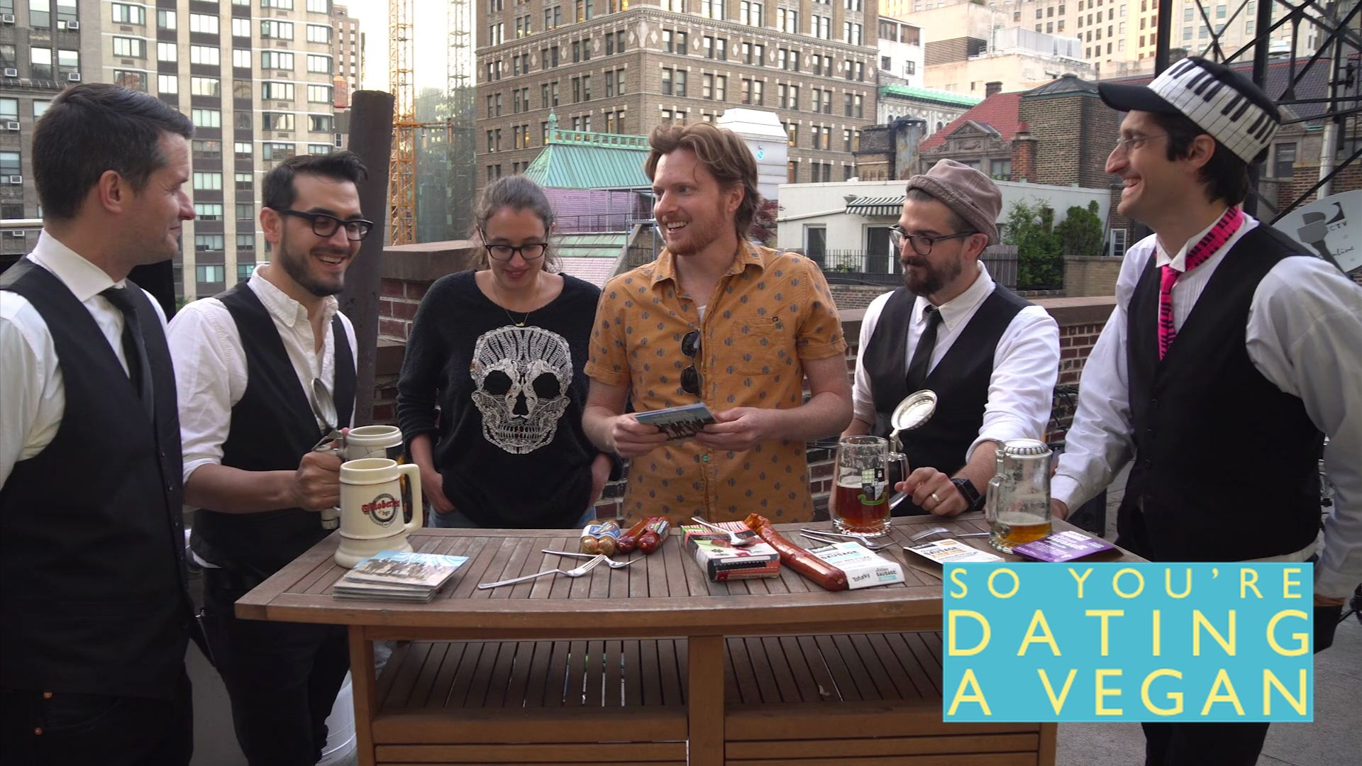 "Cooking show ""So You're Dating A Vegan"" gave The Polka Brothers a call when they needed some resident exprets to taste test some (vegan) sausage."