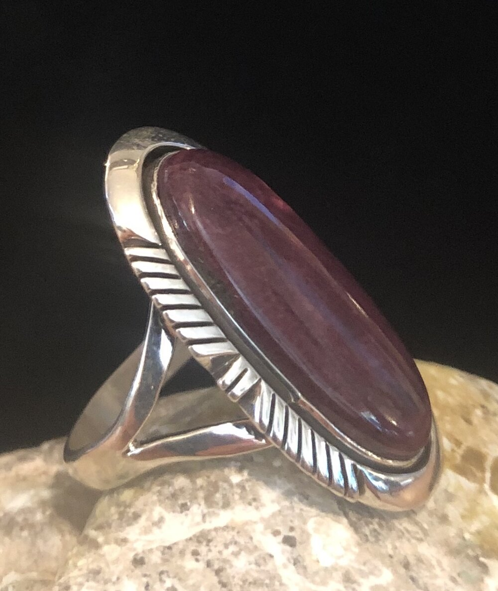 Navajo Signed OOAK Natural Amethyst Ring Sterling Silver Austin Garcia KEWA Santo Domingo Pueblo