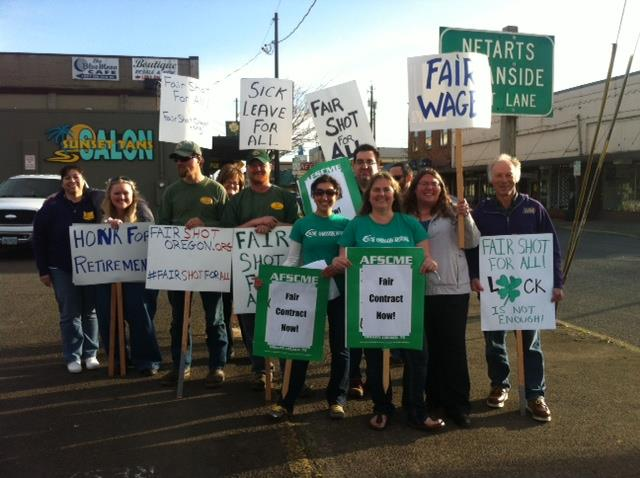 Oregon AFSCME participating in Fair Shot's March 18th rallies.