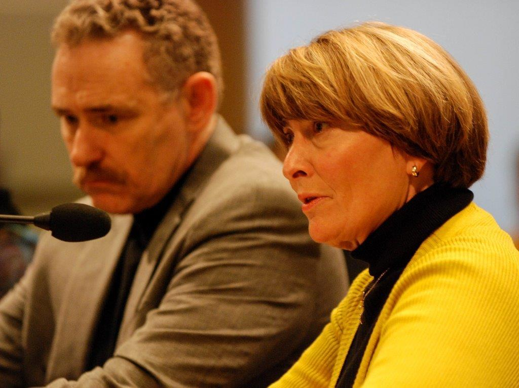 ONA Executive Director Susan King testifying alongside the AFL-CIO's Tom Chamberlain in support of passing paid sick days.