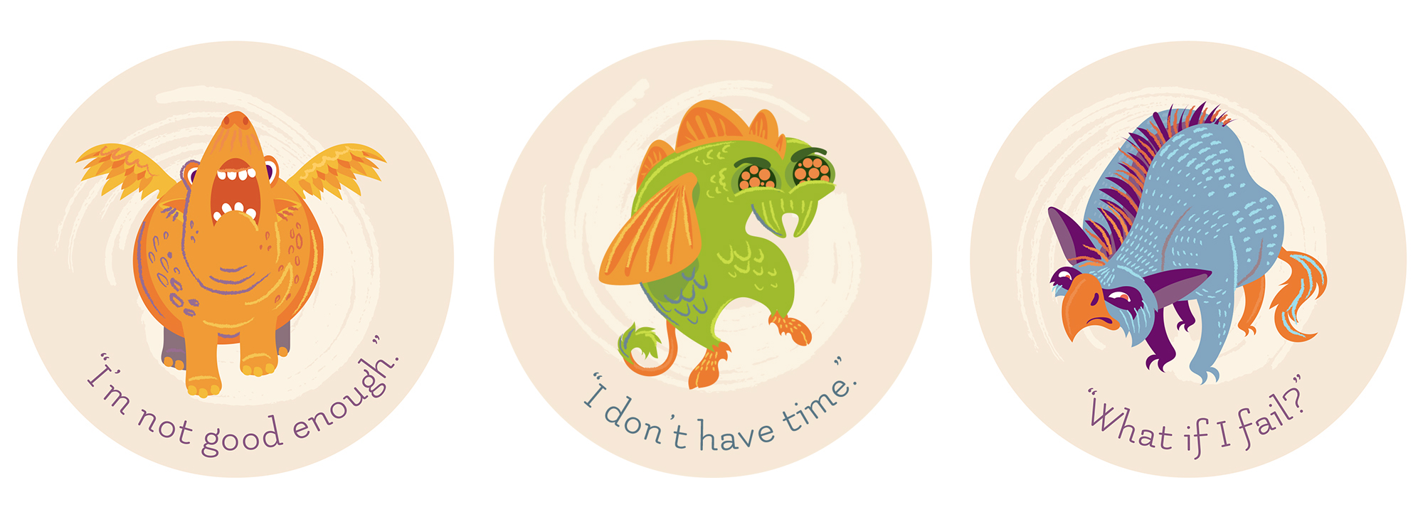 """""""Doubt Monsters"""" : A series of creature illustrations depicting some of the most common anxieties. Don't let them get you down!"""