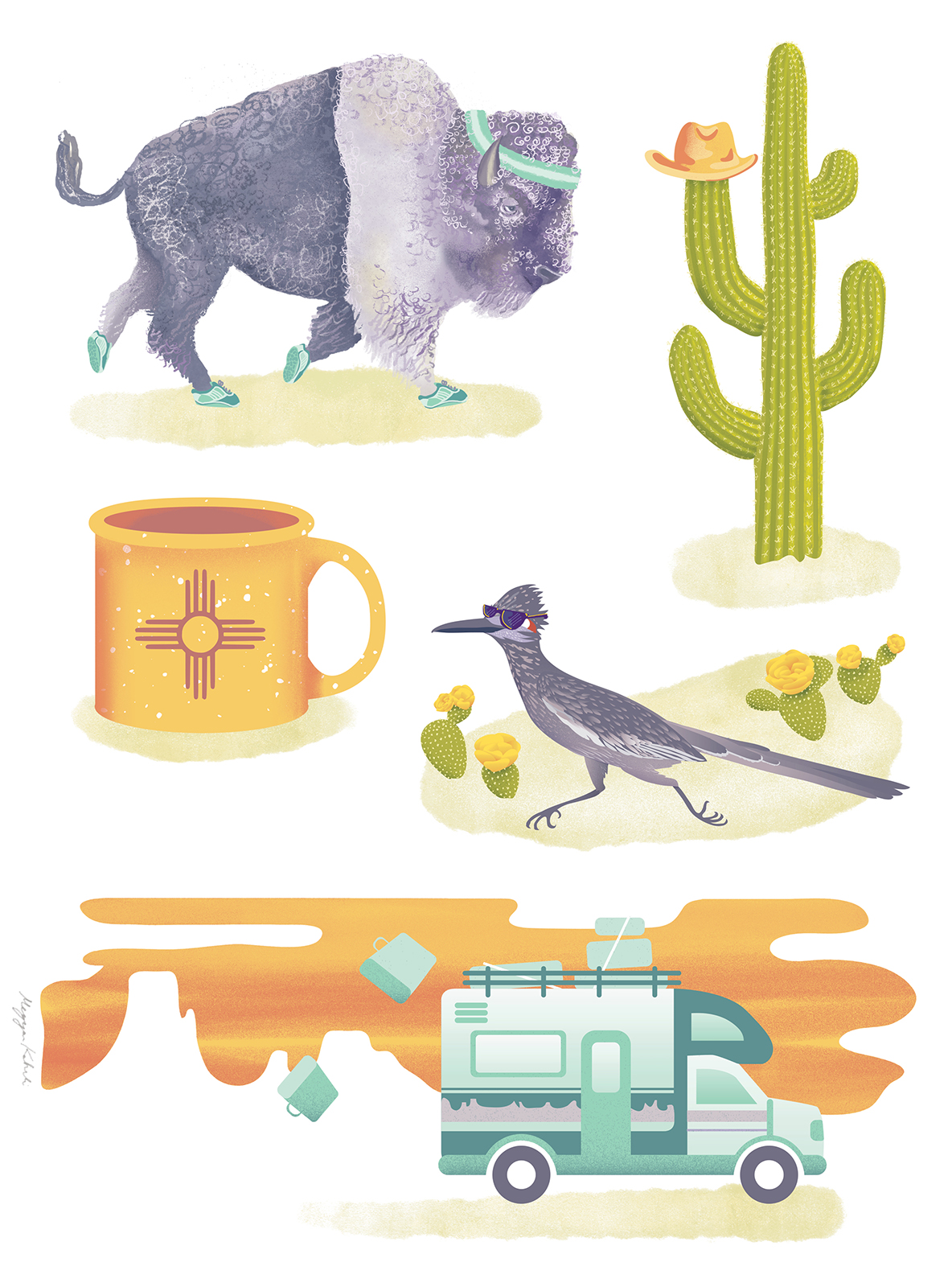 Out West! Illustration commission for an adventuresome family.