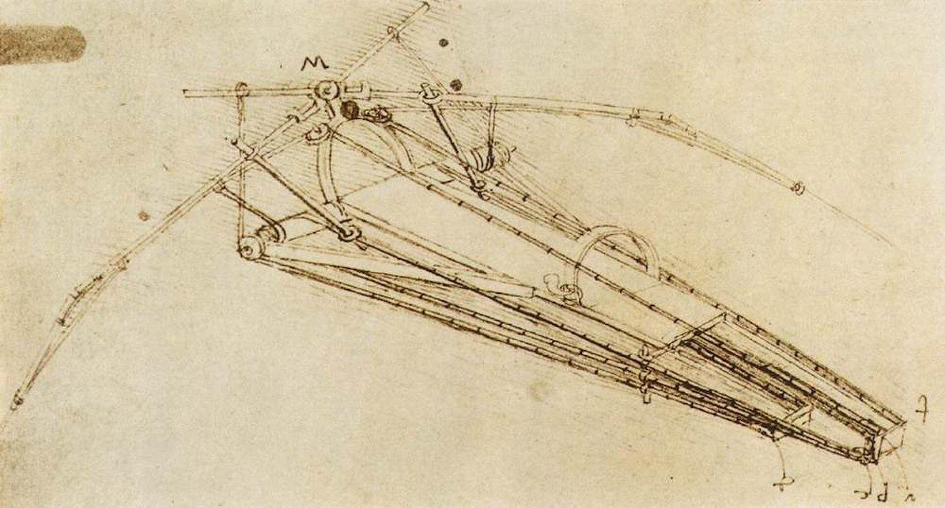 da Vinci's ornithopter, second sketch