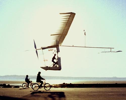 Paul MacCready's Albatross HPA in flight at NASA's Dryden Flight Research Center, 1977