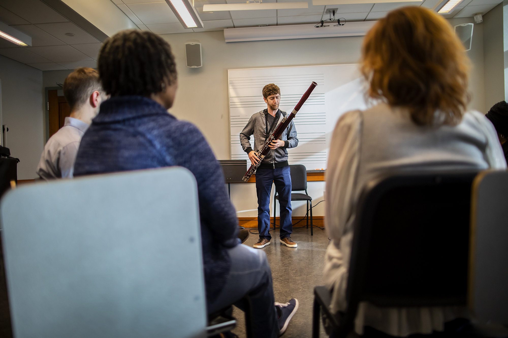 Bassoonist Doron Laznow performs at a Creative Expression Through Music session. Photo by Eric Sucar/Penn University Communications.