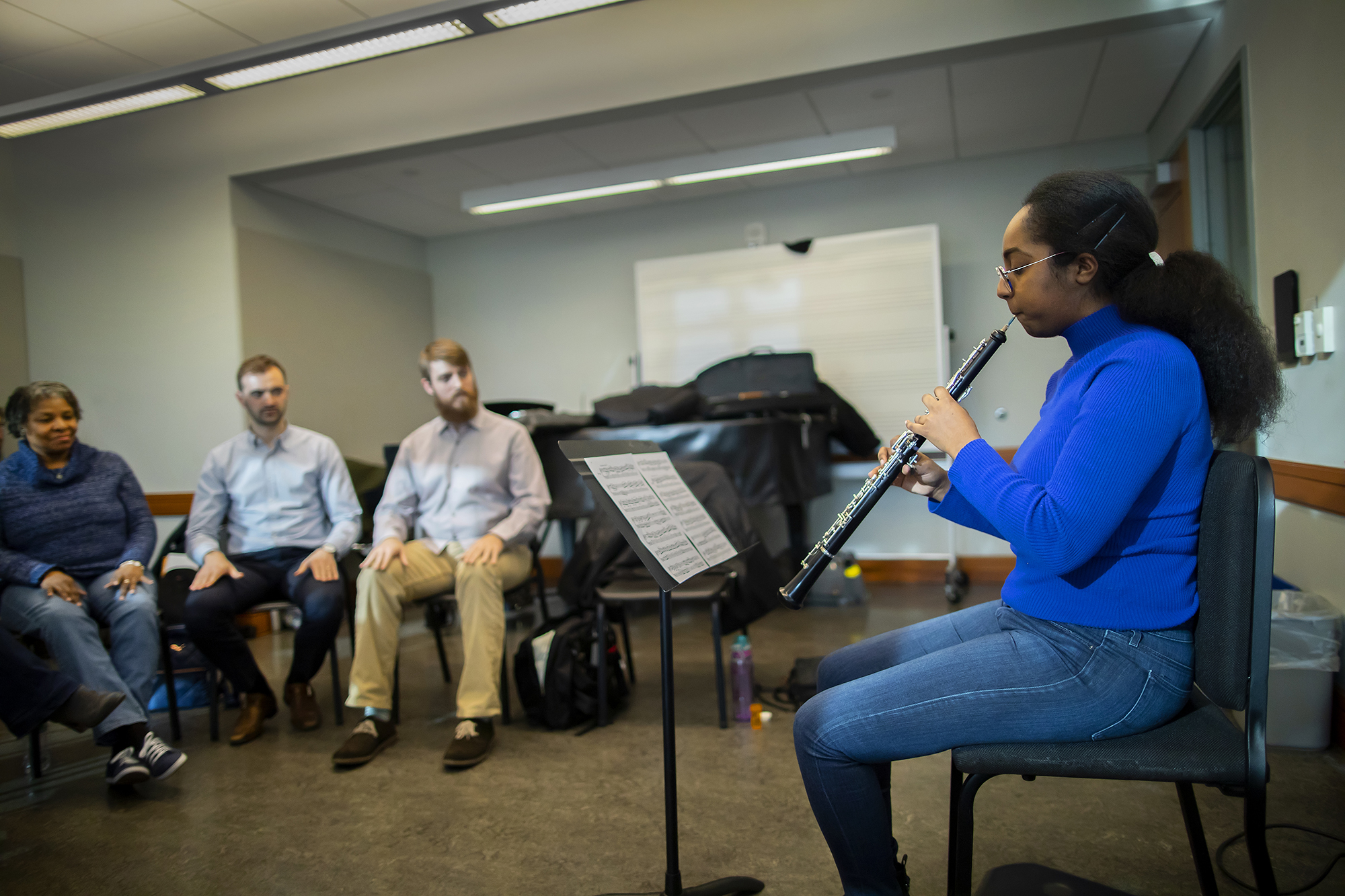 Oboist Sarrah Bushara performs at a Creative Expression Through Music session. Photo by Eric Sucar/Penn University Communications.