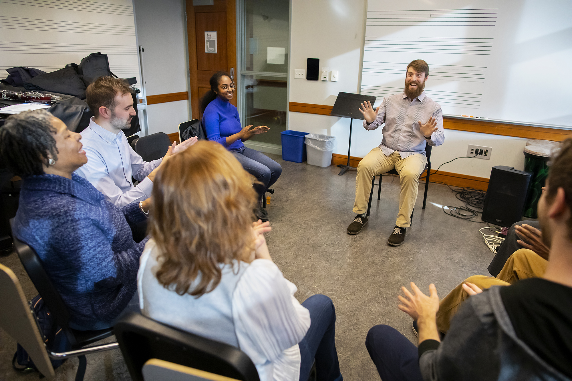 Nick leads a body percussion exercise during a Creative Expression Through Music session. Photo by Eric Sucar/Penn University Communications.