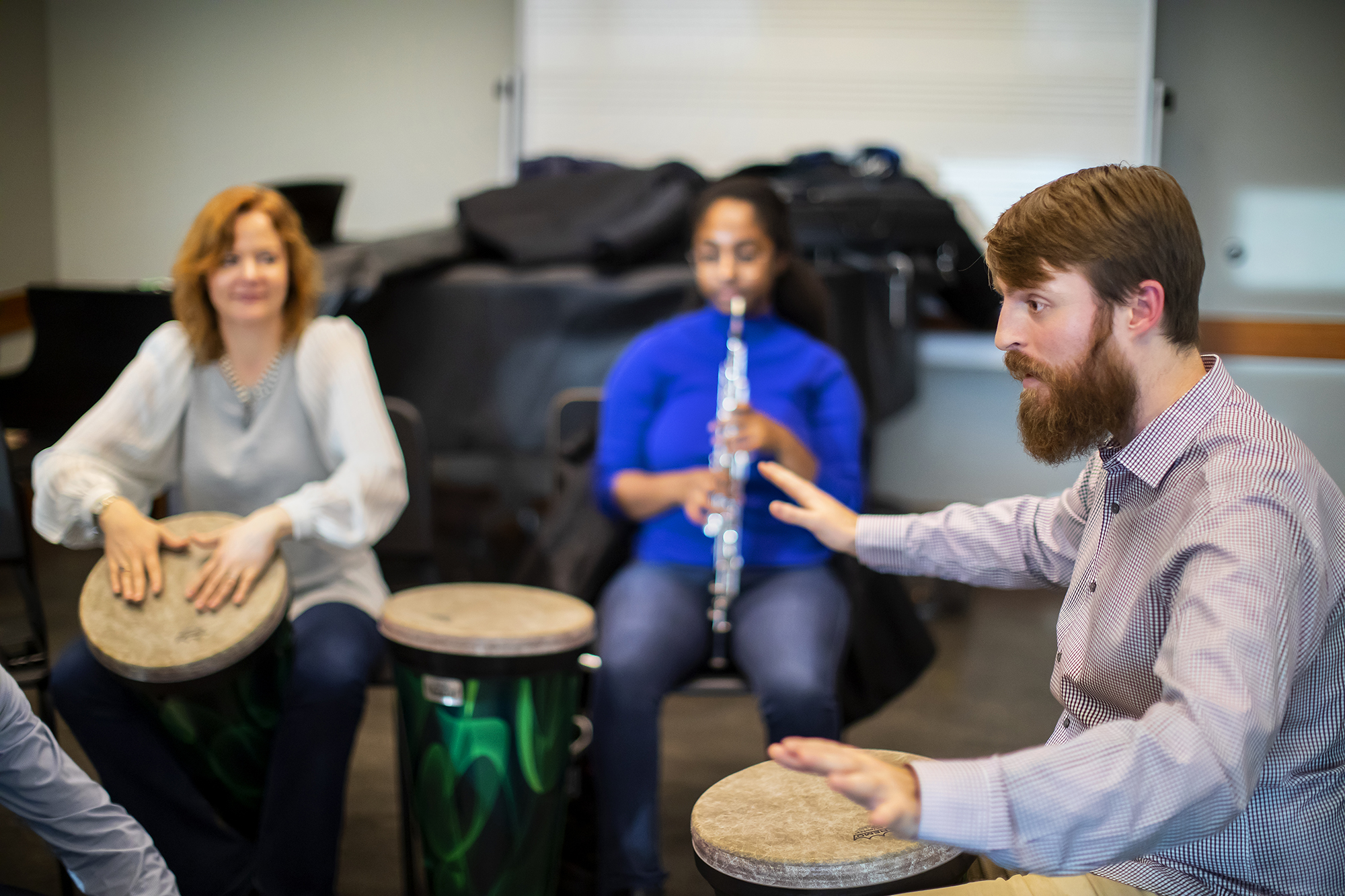 Nick concludes a group improvisation during a Creative Expression Through Music session. Photo by Eric Sucar/Penn University Communications.