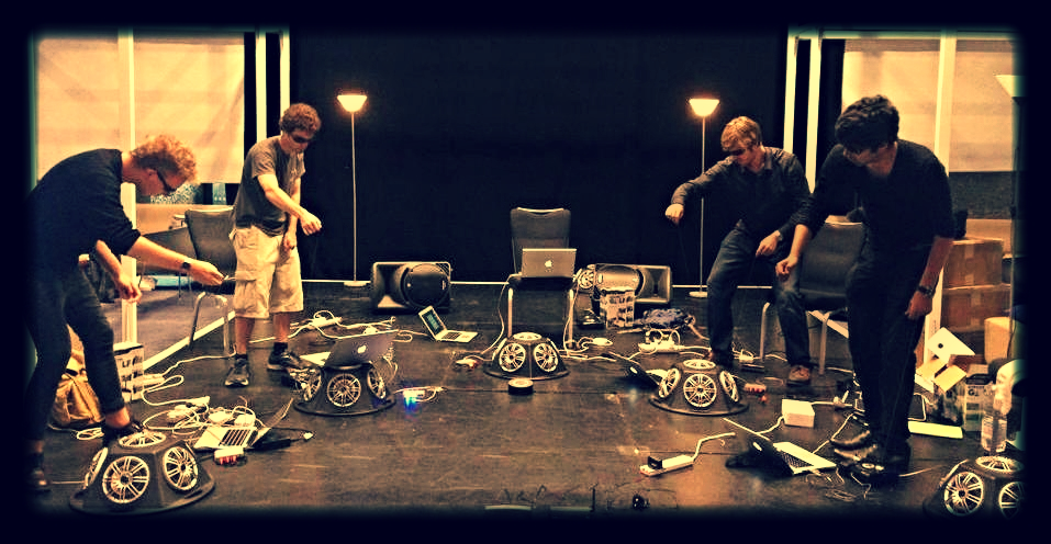 OxLOrk performs with PC Golf controllers at the London's Barbican Centre.