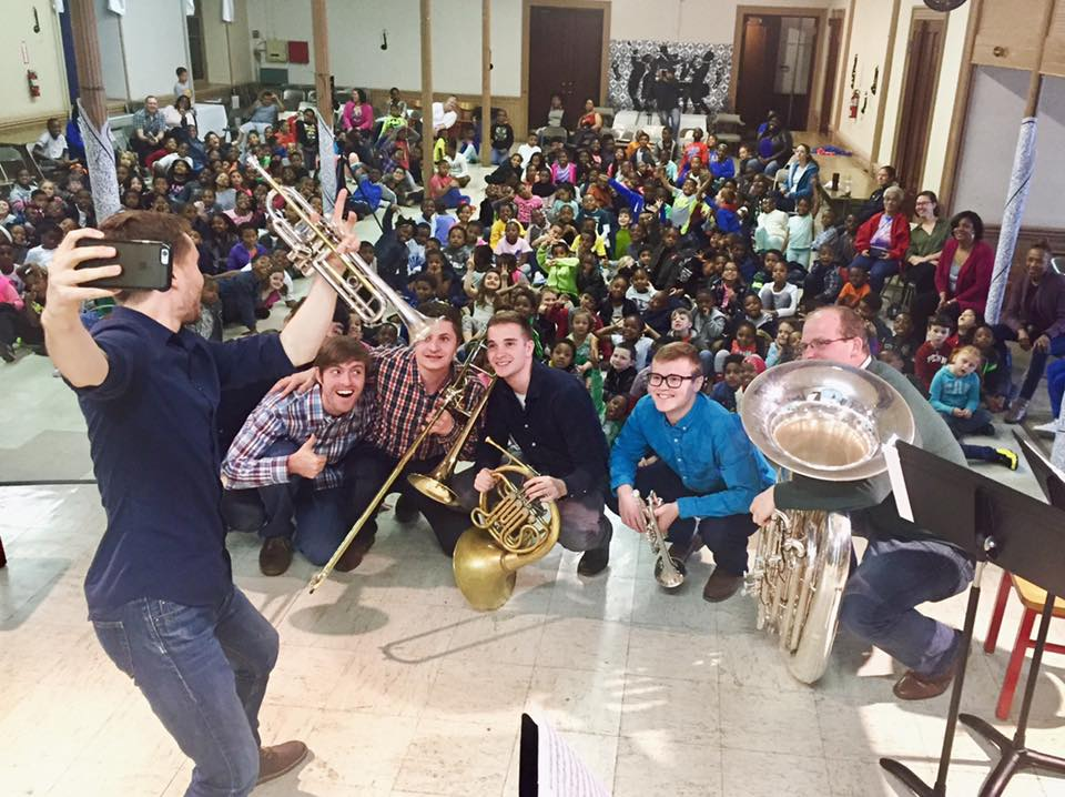 Nick and The Brass Project finish an interactive performance at Powel Elementary School in style.