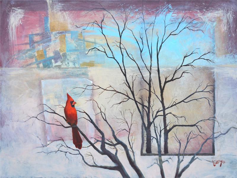 """""""Cardinal"""" 40""""x30"""" oil and acrylic on canvas"""