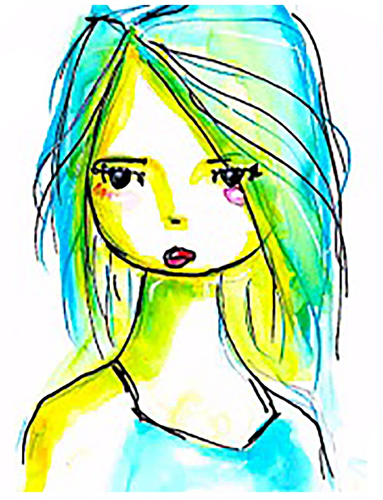 drawing by Rachel -SCR subscriber- with water soluble markers, black fine liner pen, on Ampersand Clayboard