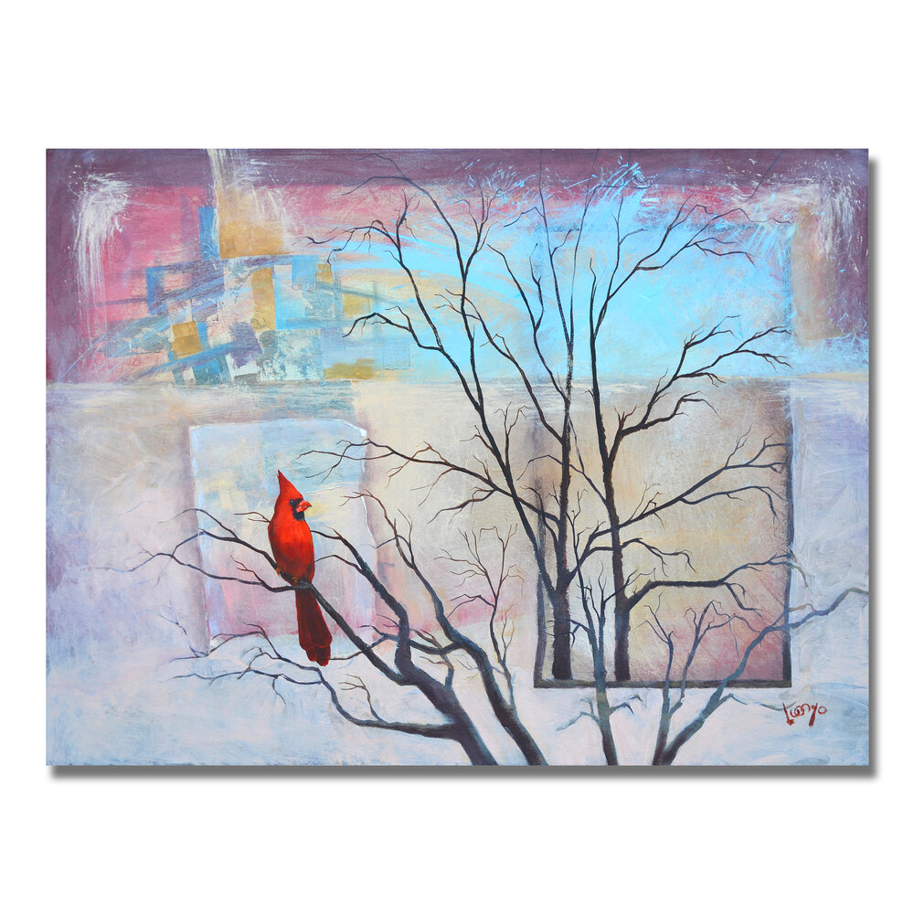 Cardinal Abstract Painting 40in X 30in Art Supply Subscription Box Smile Create Repeat