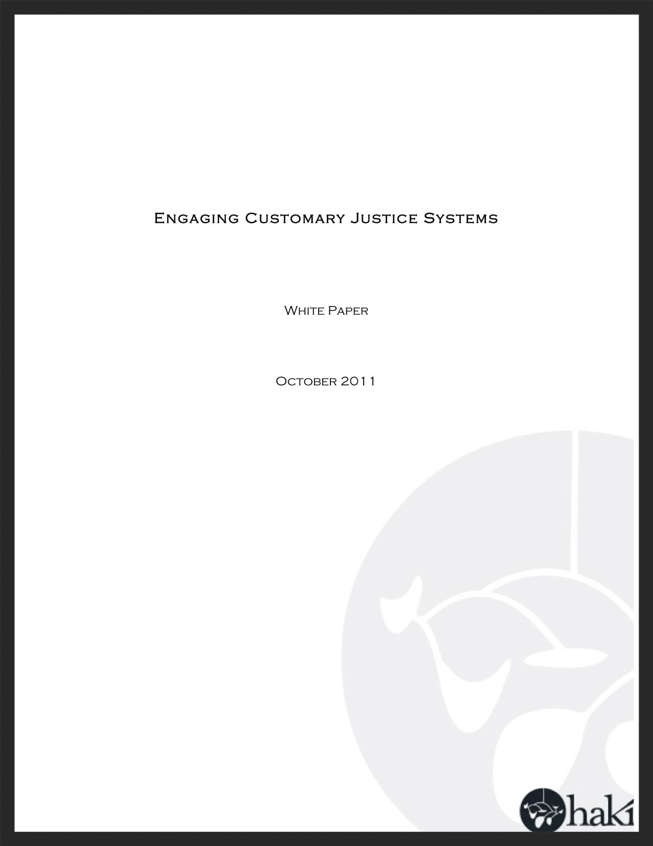 Haki Customary Justice White Paper