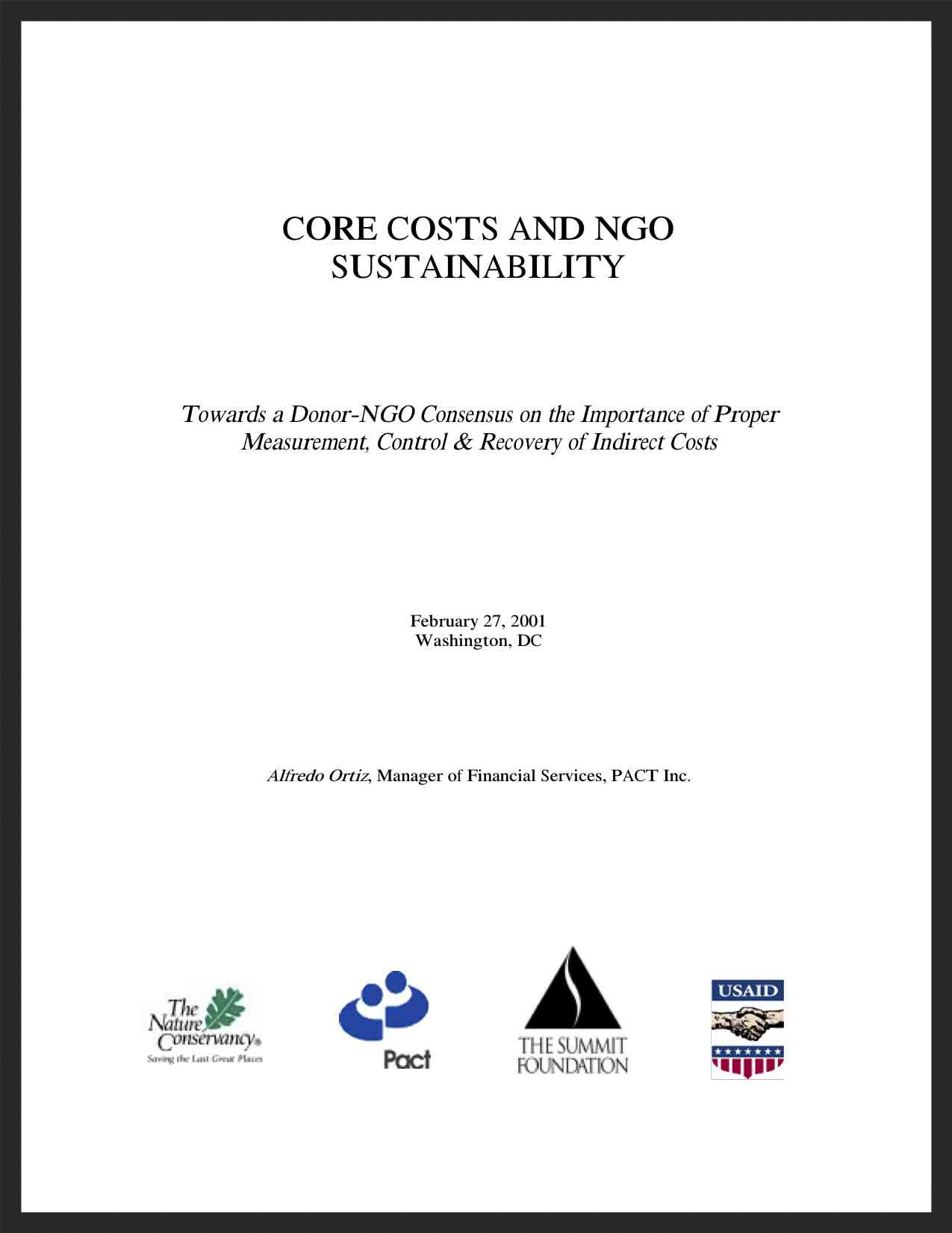 NGO Core Costs and Sustainability Manual