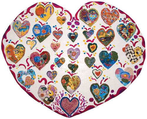 Ceramic heart art project.