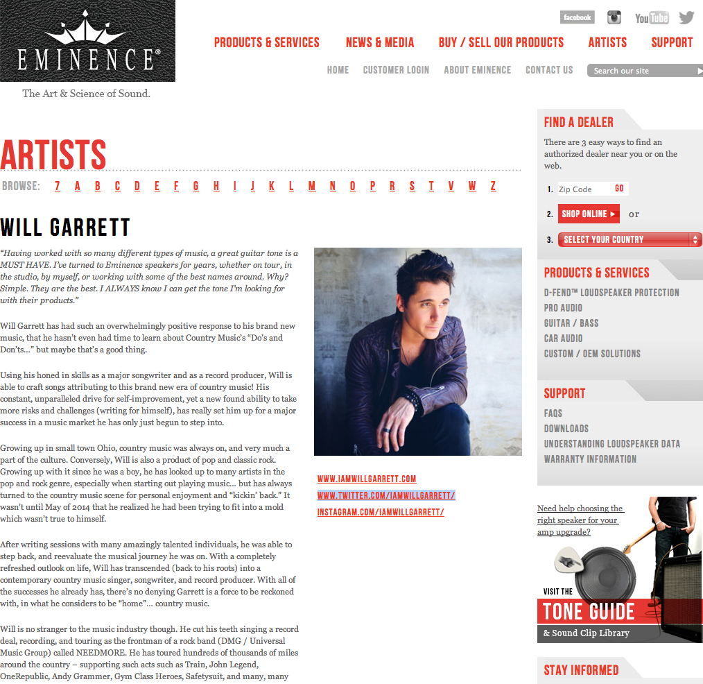 Check out Will's Eminence Artist Page!
