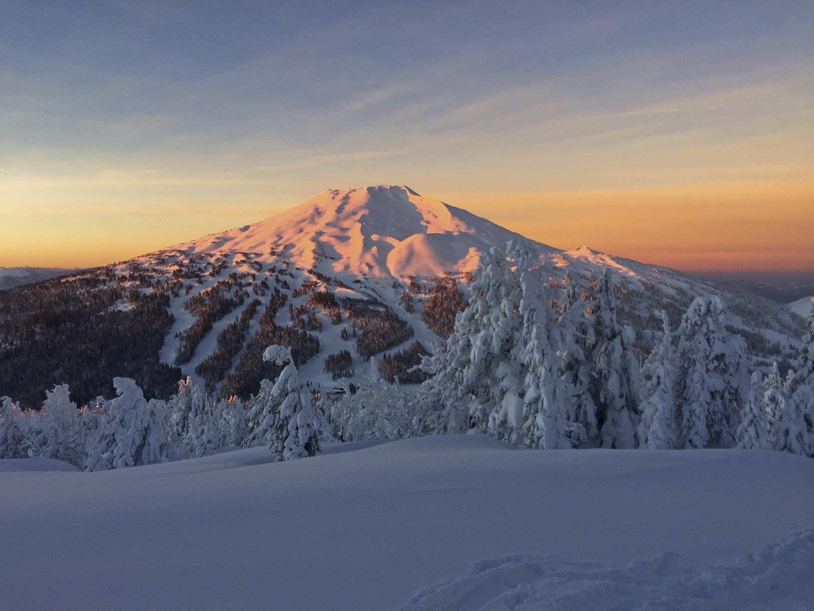 Sunrise skin up Tumalo Mountain with buddy Sam Balyeat with views of Mount Bachelor, OR.