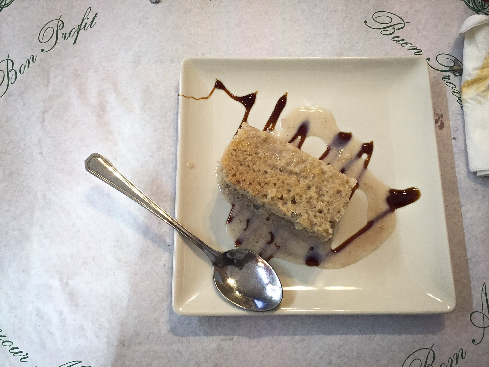 Course 3: Just enough tres leches cake to make you feel like exploding.