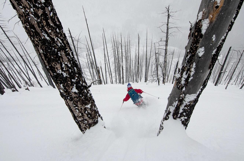 Skiing the burn with The Bird. Photo: Scott Rinckenberger.