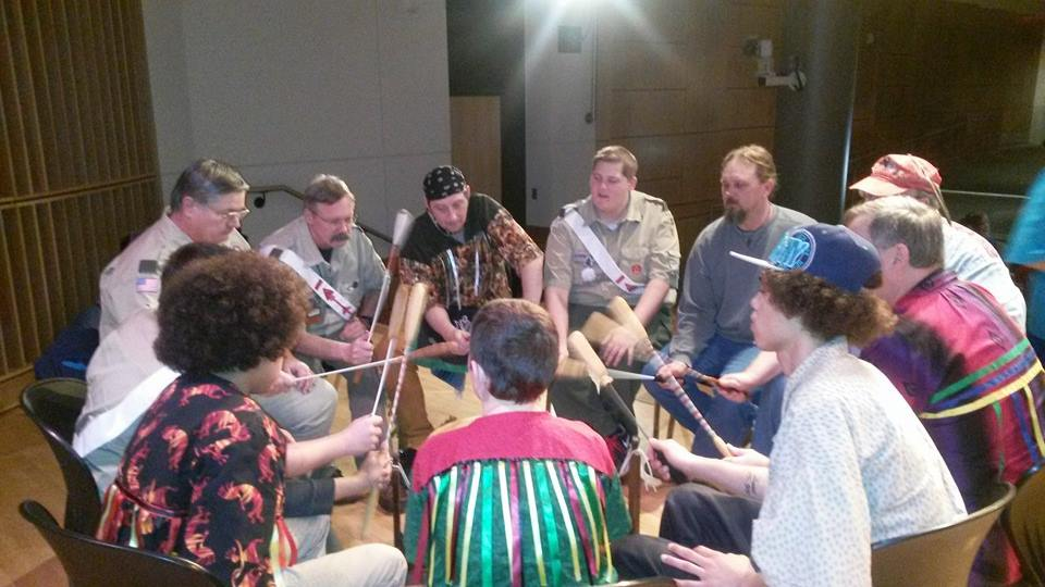The Miami Nation of Indiana Drumming with the Boy Scouts of America, Fort Wayne.