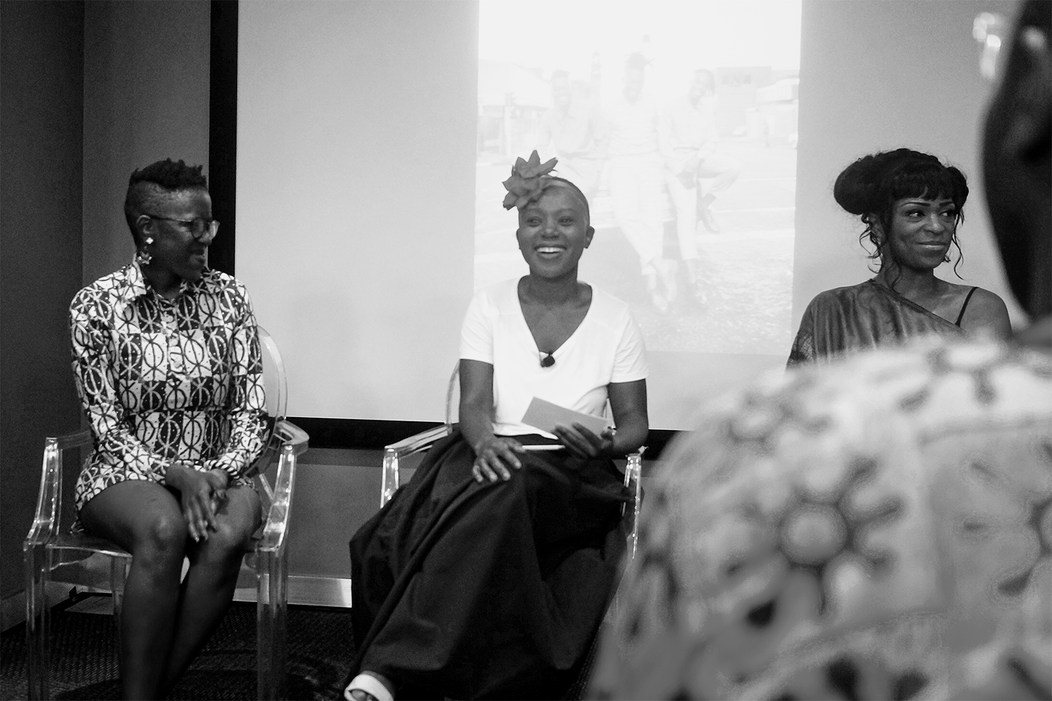 "Writer Milisuthando Bongela beautifully moderates the panel ""Universal Blackness: The Black Diaspora Experience in the 21st Century presented by ARTNOIR"" with artists Nontsikelelo Mutiti (left) and Lina Iris Viktor (right)"